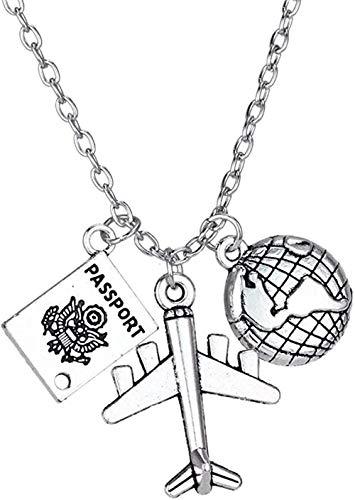 MGBDXG Co.,Ltd Collar Best Friends Wanderlust Viajeros Collares Regalo Globo Tierra Avión Avión Pasaporte Colgante Viajando por el Mundo Collar Collar Collar