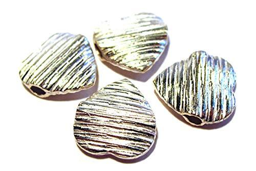 Corazón estriado 14 x 4 mm 2,5 mm horizontal taladrado, AG 925