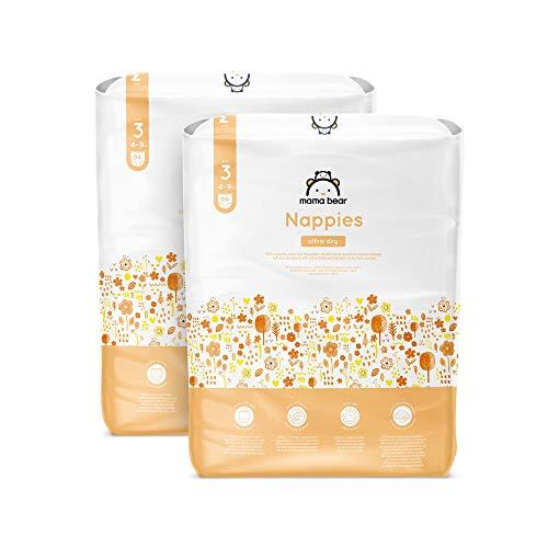 Marca Amazon - Mama Bear Pañales ultra-secos - Talla 3 (4-9 kg) - Con canales - 172 pañales (2 bolsas x 86) - Nueva versión