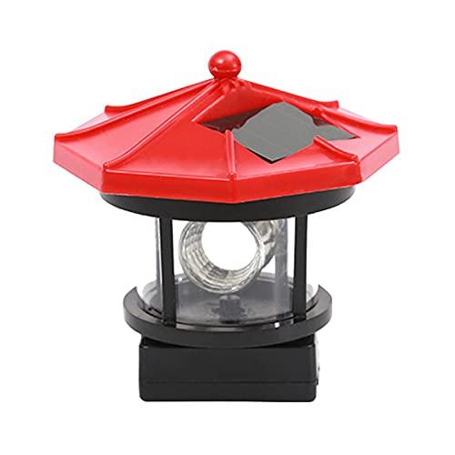 Solar LED rotierende Leuchtturm-Lampe, 360 Grad drehbare Lampe, IP44, wasserdicht, dekorative Warnleuchte für Garten, Hof, Außendekoration (rot, Größe: S)