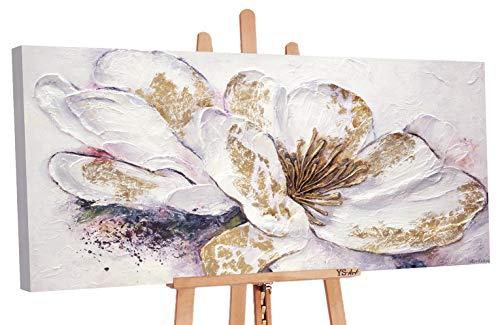 YS-Art Premium | Quadro Dipinto con Colori Acrilici Peonia d'oro | Muro | Mano | Pittura | Arte Moderna | Tela | Unico | Bianco | PS039 (80 x 160 cm)