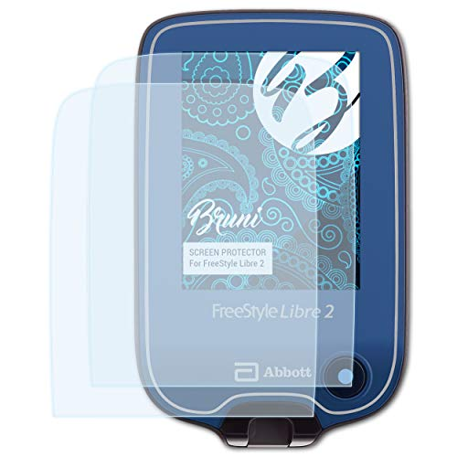 Bruni Schutzfolie kompatibel mit Freestyle Libre 2 Folie, glasklare Displayschutzfolie (2X)