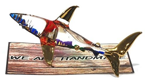 Handmade Shark Art Glass Blown Marine Sea Animal Figurine