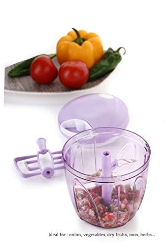 Amazon Choice Prime 5X Speedy Vegetable Chopper in XL Size 900 ML, Jumbo Big Food Chopper, Compact & Powerful Hand Held Vegetable Chopper/Blender to Chop Fruits and Vegetables (Purple)