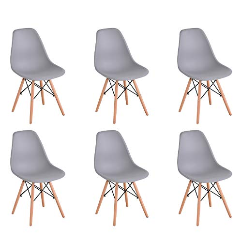 KunstDesign Juego de 6 Sillas de Comedor de Plástico con Patas de Madera, Estilo Retro, Sin Brazos, Gris