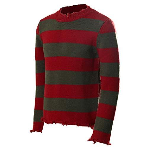 NUWIND Freddy Krueger Pullover gestreift Nightmare on Elm Street Cosplay Kostüm Erwachsene Gr. Large-X-Large, Rouge et Vert