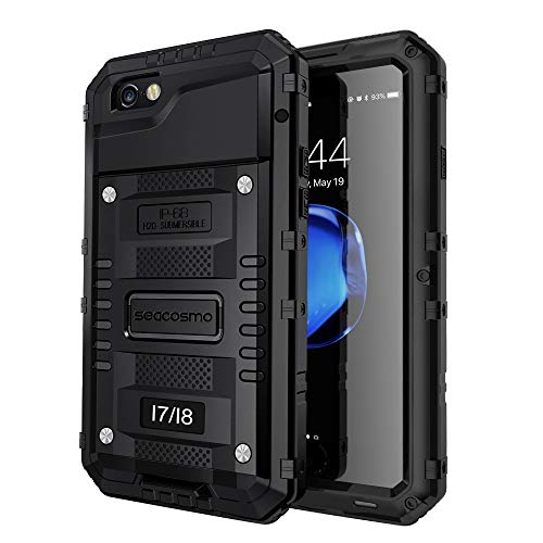 seacosmo Cover iPhone 7, Cover iPhone SE 2020, [Waterproof] Custodia Impermeabile Corpo Completo con Protezione Incorporata dello Schermo per Apple iPhone 8, Nero