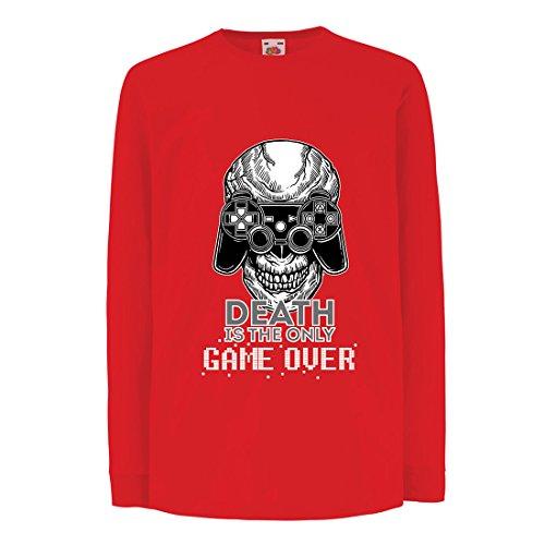 Camisetas de Manga Larga para Niño Game Over - Juego Terminado, Jugador de Calavera, Esqueleto, Regalo Divertido, Citas de Juegos (9-11 Years Rojo Multicolor)
