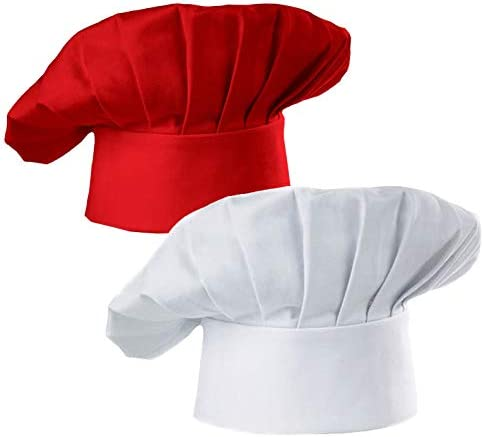 Hyzrz Chef Hat Set of 2 Pack Adult Adjustable Elastic Baker Kitchen Cooking Chef Cap White Red product image
