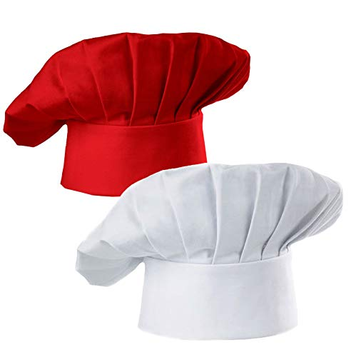 Hyzrz Chef Hat Set of 2 Pack Adult Adjustable Elastic Baker Kitchen Cooking Chef Cap, White, Red