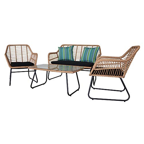 Rattan Garden Furniture Sets Corner, Rattan Patio Garden Furniture, Wicker Rattan Patio Conversation Set with Tempered Glass Table Wicker Weave Garden Furniture Patio Conservatory Outdoor (4pcs Set)