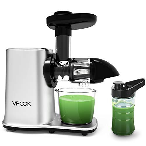 VPCOK Licuadora Prensado en Frio, Licuadoras para Verduras y Frutas Extractor de zumos con Dos Velocidades y Función inversa,Fácil de Limpiar con un Cepillo