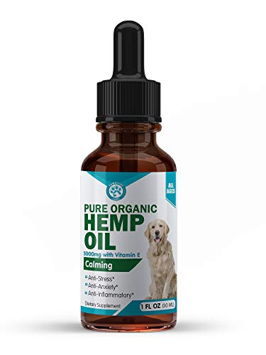 Hemp Oil for Dogs & Cats 5000mg - Anti-Separation Anxiety, Joint Pain, Stress Relief, Arthritis, Seizures, Chronic Pain Relief, Anti-Inflammatory - Omega 3, 6, 9-100% Organic (New Label Design)