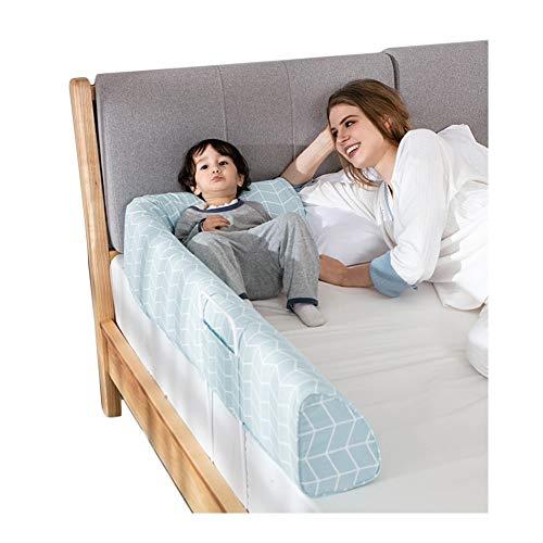 QIANDA Barrera Camas para Bebés Y Niños Pequeños Anti-Fall Drop La Seguridad Barrera Portátil, Cojín De Noche 3 Colores (Color : Blue, Size : 150cm)