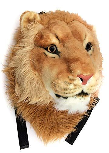 WYCY 3D Cabeza de León Mochila de Felpa Mochila Escolar de Animales Frescos Personalidad 3D Simulación Dominante Mochila de Felpa Mochila Decorativa de Moda (Grande, L)