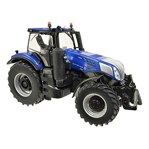 Tractor Tomy Britains New Holland T8.435 para niños con elevación hidráulica Trasera Regulable y Espejos Plegables, Tractor con Peso Frontal, Tractor para Jugar y coleccionar, a Partir de 3 años