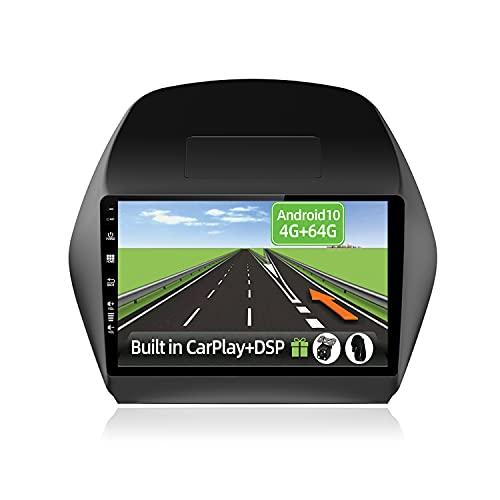 YUNTX Android 10 2 DIN Autoradio para Hyundai Tucson IX35(2010-2015)-4G+64G-[Integrado CarPlay/Android Auto/DSP]-8 Core-Gratuitos LED Cámara&Mic-Soporte Dab/Control del Volante/MirrorLink/360 Cámara