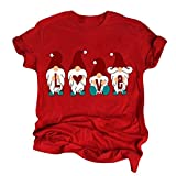 Blusas de mujer Otoño WinterTops de las Mujeres de la Navidad de la Carta de Cuello Redondo de Manga Corta Camisetas Tops Blusa Ropa Caliente Regalo de Reino Unido Talla S-XXXXXL