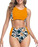 Tempt Me Women Yellow Floral High Waisted Bikini Sporty Scoop Neck Tank Top Two Piece Swimsuits M