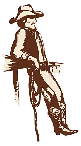 Wandtattoo USA Wandsticker Cowboy mit Hut und Lasso Amerika Wandtattoo zum Kleb
