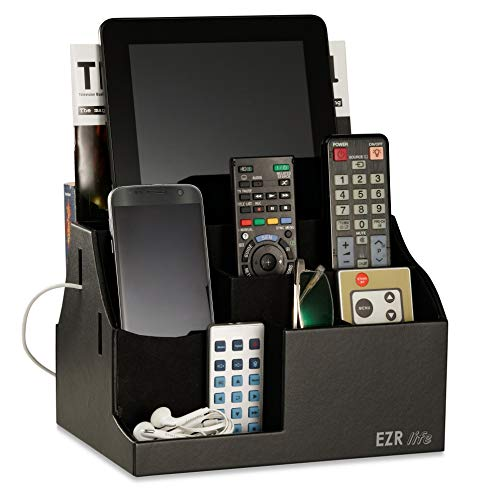 EZR life AllinOne Remote Control Holder Caddy Organizer  Black Leather  Also Holds Phones Tablets Books Glasses 8 compartments up to 14 remotes