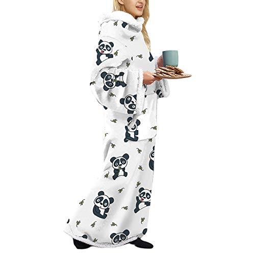 Nensiche Mit Ärmeln Tragbare Decke Sherpa Tragbare Decke Winter Lamm Wolle Hoodie Decke für Unisex (Panda C, One Size)