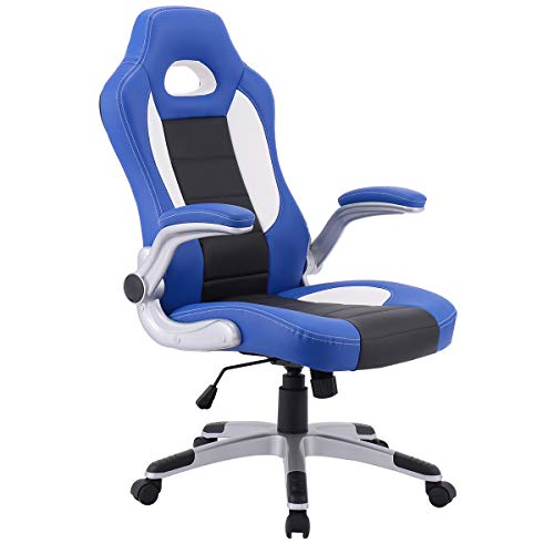 Giantex Ergonomic Gaming Chair High Back Leather Computer Executive Chair, Racing Style Bucket Seat Adjustable Swivel Chair, Office Desk Chair Video Game Chairs w/Armrest (Blue) blue chair gaming