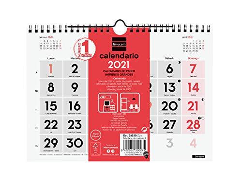 Finocam - Calendario Neutro de pared 2021 Números grandes Español, S - 210x150 mm (780200021)