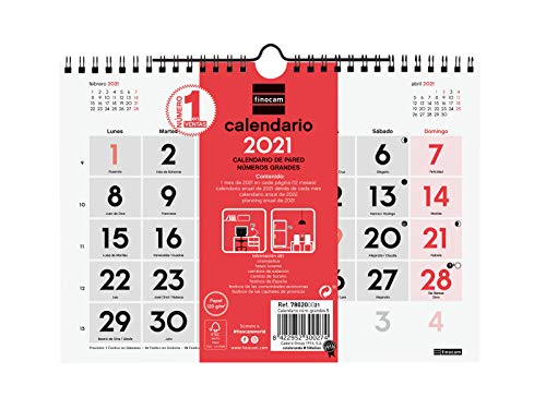 Finocam - Calendario Neutro de pared 2021 Números grandes Español, S - 210x150 mm (780200021)