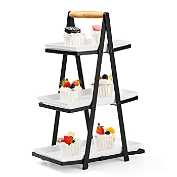 Yedio 3 Tier Cake Tray Porcelain 3 Tier Cake Serving Tray for Cake Dessert Fruit Display Durable 3 Tier Serving Tray Dishwasher Safe