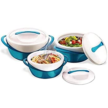Pinnacle Insulated Casserole Dish with Lid 3 pc set 2.6/1.25/.6 qt Elegant Hot Pot Food Warmer/Cooler - Large Thermal Soup/Salad Serving Bowl- Stainless Steel –Best Gift Set for Moms –Holidays Teal
