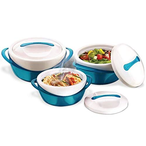Pinnacle Insulated Casserole Dish with Lid 3 pc. set 2.6/1.25/.6 qt. Elegant Hot Pot Food Warmer/Cooler - Large Thermal Soup/Salad Serving Bowl- Stainless Steel –Best Gift Set for Moms –Holidays Teal