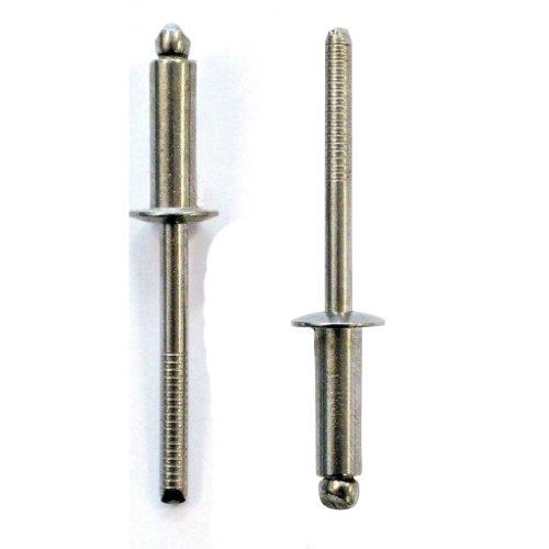 100 rivets pop acier zingue tête plate diamètre 4 mm longueur 10 mm