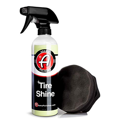 Adam's Tire Shine Combo - Spray Tire Dressing W/ SiO2 For Non Greasy Car Detailing | Use W/Tire Applicator After Tire Cleaner & Wheel Cleaner | Gives A Ceramic Coating Car Wax Like Tire Protection