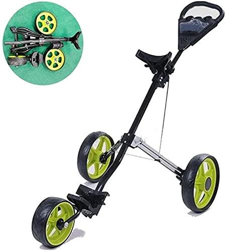 Carrito de golf con empuje de golf, carrito de golf de 3 ruedas, carrito de golf plegable ligero, con asiento para bebida, un segundo para abrir y cerrar carrito plegable (color verde)