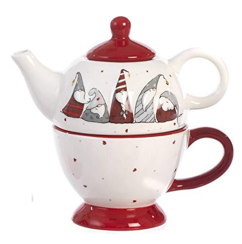 Paben Noel Set Composé de Théière et Tasse avec Décoration Gnomes Noel Céramique - Cadeau Noël