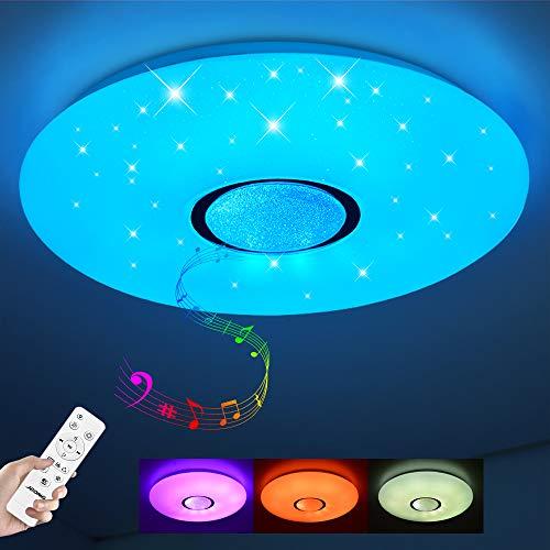Lámpara LED de Techo Regulable con Altavoz Bluetooth, Mando