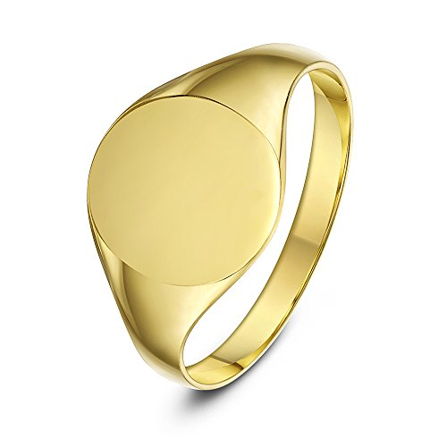 Theia Ladies Oval Shape and Heavy Weight, 9 ct Yellow Gold Signet Ring - Size I