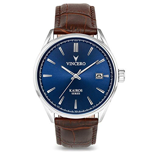 Vincero Luxury Men's Kairos Wrist Watch — Blue dial with Brown Leather Watch Band — 42mm Analog Watch — Japanese Quartz Movement