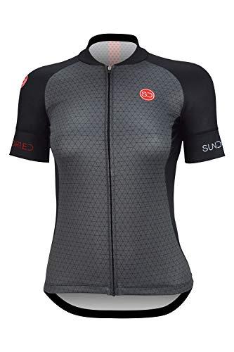 Sundried Frauen Zyklus Jersey Kurzarm Rennrad und Mountainbike-Jersey (L, Schwarz)