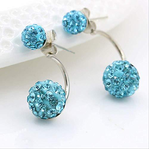 Pendientes casados Color caramelo Brillante Cristal completo Cz Pendientes de bola doble para mujer PlateadoAzul claro