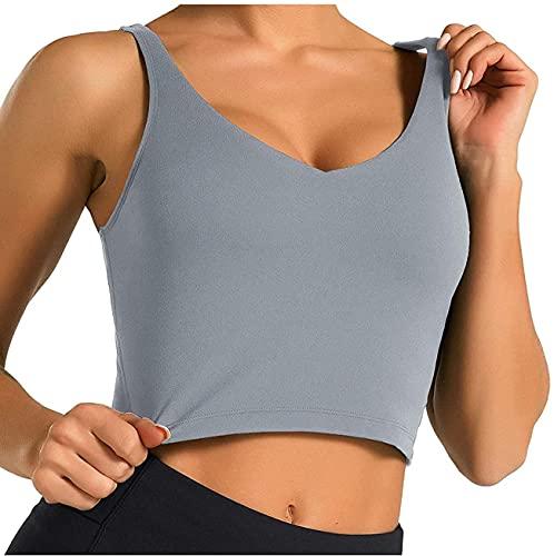DCVZTEA Color sólido Tank Tops para las mujeres sin mangas chaleco deporte yoga running blusa señoras corto jersey