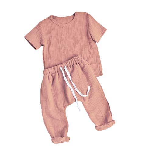 FeMereina 6-24 Mesi Unisex Bambini Set di Abbigliamento per Pigiama, T-Shirt in Cotone e Lino + Pantaloni Lunghi con Coulisse 2 Pezzi Vestito per Neonato (Rosa, 70/6-9 Mesi)