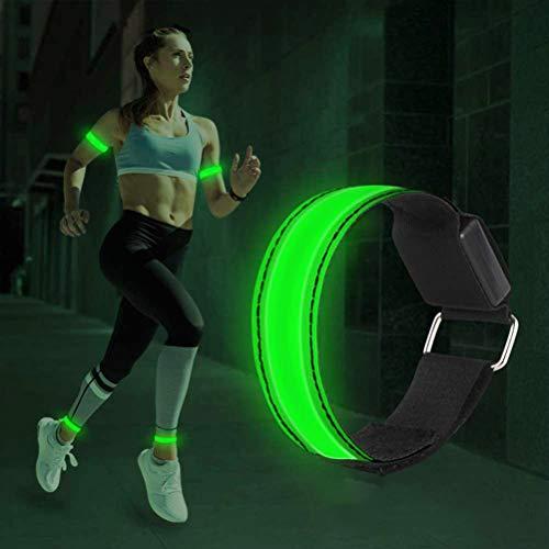 Vssictor Brazalete LED, Brazalete Luminoso de Seguridad y Brazalete Ajustable con Carga USB y 3 Modos de iluminación para Deportes nocturnos, Correr, Ciclismo