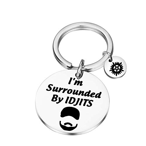 I'm Surrounded By IDJITS Movie Inspired Keychain Anti Possession Symbol Charm for Friend Birthday Gifts (Surrounded By IDJITS)