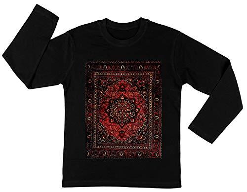 Perzisch Tapijt Kijken In Roos Unisex Kinder Jongens Meisjes Lange Mouwen T-shirt Zwart Unisex Kids Boys Girls's Long Sleeves T-Shirt Black