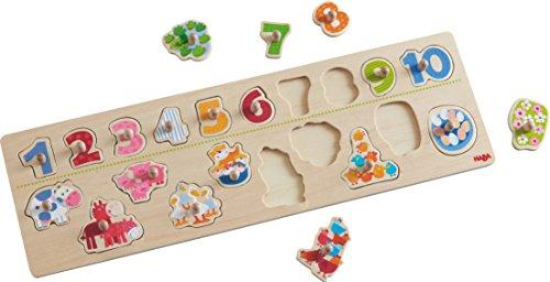 HABA 301961 - Greifpuzzle Tierischer Zählspaß   Holzpuzzle mit bunten Tiermotiven zum Zahlen lernen   Puzzle mit 20 Teilen   Holzspielzeug ab 2 Jahren