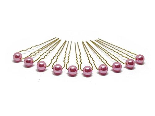 10 x Perlen Haarnadeln - Brauthaarschmuck, Haarschmuck, Perlenhaarnadel   10PG - Pink