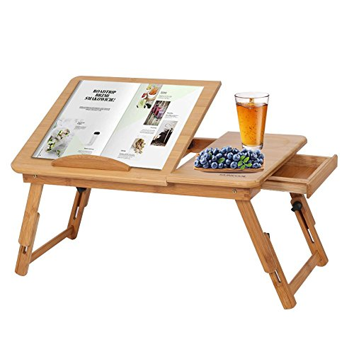 Tavolino da PC Scrivania per Letto, Tavolino Porta Laptop Pieghevole e Portatile PC Vassoio Supporto Regolabile Scrivania per Laptop in Bambù con Fori di Raffreddamento, 30 x 50 x 20 cm