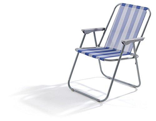 VERDELOOK Sedia Lanzarote Pieghevole da Spiaggia 52x44x75 cm, Bianco/Blu Giardino Esterni